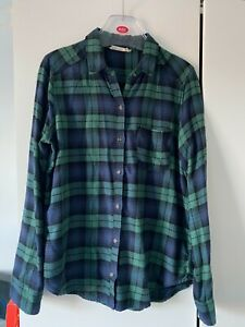 Hollister Womens Small Loose Fit Blue & Green Check Plaid Flannel Shirt RRP £29