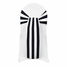 "150 STRIPE SATIN CHAIR COVER SASH BOWS 6""X108"" STRIPED PRINT WEDDING  Made USA"