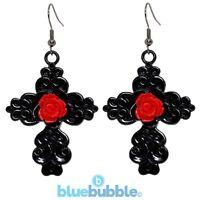 Bluebubble BLACK MAGIC Carved Rose Cross Earrings Gothic Punk Rock Halloween Emo