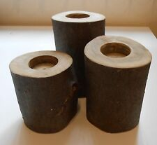 WOODEN BLOCK CANDLE HOLDERS (3) - VARIOUS SIZES
