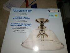 Kichler 15-in W Brushed nickel Clear Glass Semi-Flush Mount Light