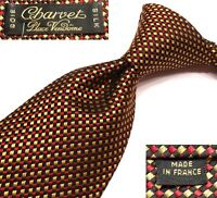 "CHARVET PLACE VENDOME NEW $235 MINI-CHECK SILK TIE MADE IN FRANCE W3.625"" L58.5"""