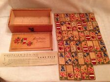 Vintage Austrian Domino Game Handpainted Wooden Box And Tiles (45 Total)