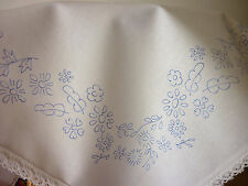"Embroidery tablecloth printed flower border cotton lace edge 23""x23"" CSOO37"