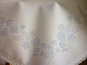 """Embroidery tablecloth printed flower border cotton lace edge 22""""x22"""" CSOO37"""