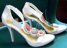 "HOSTILE Shoes Womens HEELS SZ 9 Woman Man MADE Zipper Stones WHITE STRAPPY 4"""