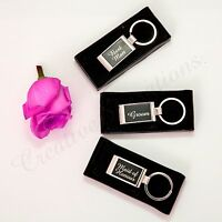 Gift Boxed Engraved Keyring Bridal Party Wedding Favour Bomboniere Keychain