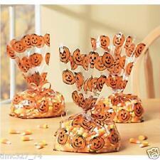 24 Halloween Party Favor Cello Goody Loot Treat Bags Pumpkins Jack O Lantern