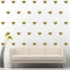"4"" Set of 108 Gold Hearts Wall Decal Vinyl Sticker Wall Pattern Decor"
