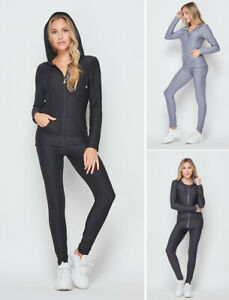 Women's Butt Lift Gym Outfit Set Hoodie Jacket Leggings Yoga Pants Tracksuit