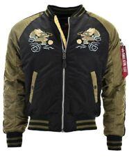 Alpha Industries Jacke Herren Bomberjacke Japan Dragon schwarz khaki L UVP 199€