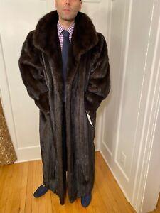"Genuine 52"" Long Mens Dark Brown Mink Fur Jacket Size 48R Regular Large Top Coat"