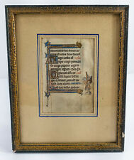Antique Renaissance Gothic Style Illuminated Manuscript Book Page Gilt Figures