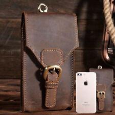 Vintage Men Genuine Leather Summer Belt Small Waist Bag Hook Phone Travel Pouch