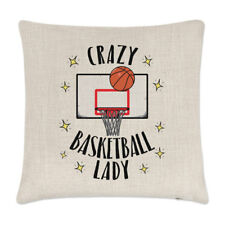 Crazy Basketball Lady Linen Cushion Cover Pillow - Funny Sport