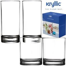Acrylic Highball Drinking Glasses Tumbler Cups 4 Pack 14 & 16 OZ (2 of each)