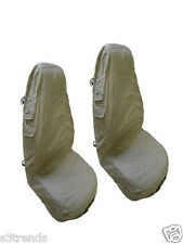 2PC Front Seat Cover Set Khaki Tan Cloth Cargo w/ Pockets Washable Car Jeep