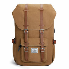 "KALIDI 17"" Canvas Backpack Rucksack School Bag for 15.6"" Laptop Notebook Khaki"