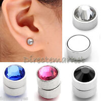 2x Stainless Steel Fake Magnetic Crystal Nose Ear Stud Clip On Non Piercing New