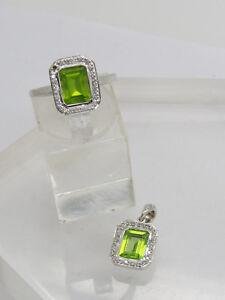 DAMAGED 14k White Gold Emerald Cut Green Peridot Diamond CHIP Ring 6.75 Pendant