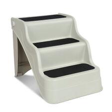 3 Steps Stairs Folding Non-slip Portable Cat Dog Doggy Ramp Ladder Beige I.pet