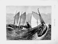 Old Antique Print 1874 British Seamen Sailing Life Surf Boats Stormy Sea 19th