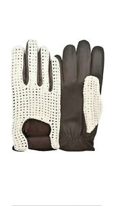 Vintage Style Full Fingers Crochet Cowhide Leather Made Gloves.