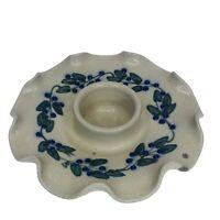 "Salmon Falls Stoneware Pottery Votive Candle Holder Ruffle Blueberry Design 6"""