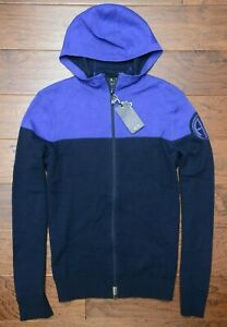 Armani Exchange $140 A|X Men's Navy Full Zip Cotton Hooded Sweater Cardigan XS