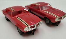 (2) Used Rare Vintage Revell 1/32 Scale Pontiac Firebird Slot Car Red Both Work!
