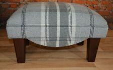 Footstool Dove Grey Balmoral Tartan Footstool with dark solid wood  legs
