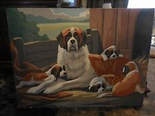 Vintage Oil on Panel Painting of Mom Saint Bernard with Pups signed A.B. Paul 50