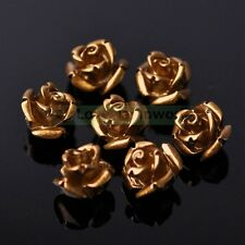 30pcs 10mm Synthetic Coral Resin Rose Flower Loose Spacer Beads Jewelry Findings