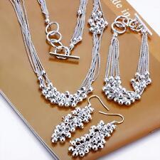Beautiful women 925 silver filled beads Necklace Bracelet Earring Set Jewelry