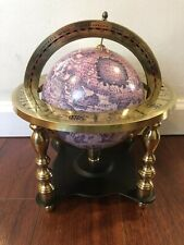 Vintage Table Top GLOBE with ZODIAC Horoscope SIGNS BRASS Stand