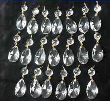 20 CRYSTAL CHANDELIER LAMP PART GLASS PRISMS BEAD 1.5'' LUSTER PENDANT WX1-2 SET