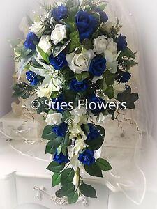 Wedding Flowers  Teardrop Bridesmaid Flower Girl Bouquet Etc. in Royal Blue