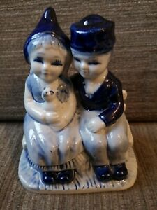 Blue Dutch Boy & Girl Figure Seated