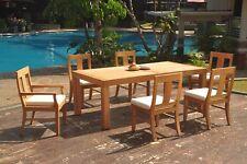 "7pc Grade-A Teak Dining Set 86"" Canberra Rectangle Table 6 Osborne Chair Outdoor"
