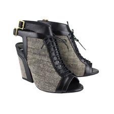 Pierre Hardy Grey Tweed Black Leather Peep-Toe Ankle Boots IT36 UK3