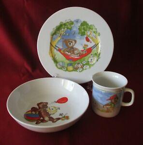 Exclusives Design Bavaria Porzellan Kindergeschirr Set 3 tlg Tasse Teller Schale