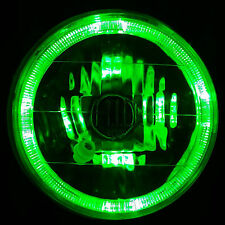 "GREEN Halo H4 7"" Round Headlight Angel Eye Semi Sealed Beam Universal Crystal"