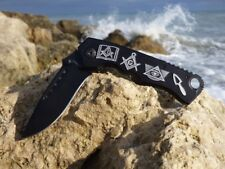 """8"""" Masonic Black Spring Assisted Rescue Knife - Square and Compasses Freemasons"""
