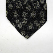 Armani Mens Vintage 80s Made in Italy Tie Black Spirals Flowers Fantasy Theme