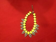 Rhinestone Brushed Brass Tone Statement Necklace With Faux Yellow Facet Stones