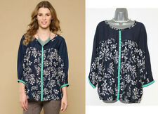 MONSOON Navy Dana Floral Print Lace Dolman Sleeve Casual Shirt Top UK 12 rrp£45