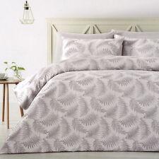 FERN Grey Silver QUEEN Quilt Cover Set Doona Duvet Polyester Jacquard NEW
