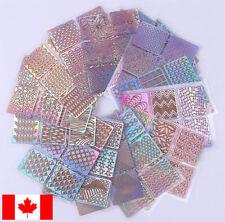 24 sheets nail stencils / stickers - prismatic shimmer - hologram glitter foil