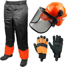 Chainsaw Trousers + Forestry Safety Helmet Ear Muffs Visor Chin Strap + Gloves