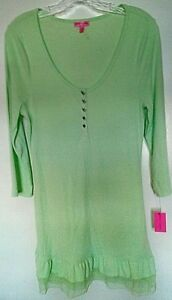 Betsey Johnson ribbed polyester blend solid mint green 3/4 sleeve sleepshirt